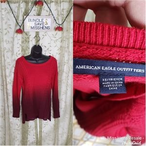 EUC AMERICAN EAGLE RED MAROON OMBRE SWEAT SHIRT
